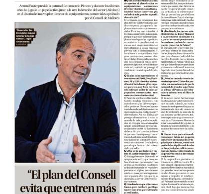 """Antoni Fuster : """"el plan del Consell evita que entren más grandes comercios""""."""