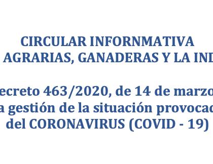 LAS EXPLOTACIONS AGRARIAS Y LA INDUSTRIA ALIMENTARIA FRENTE AL CORONAVIRUS