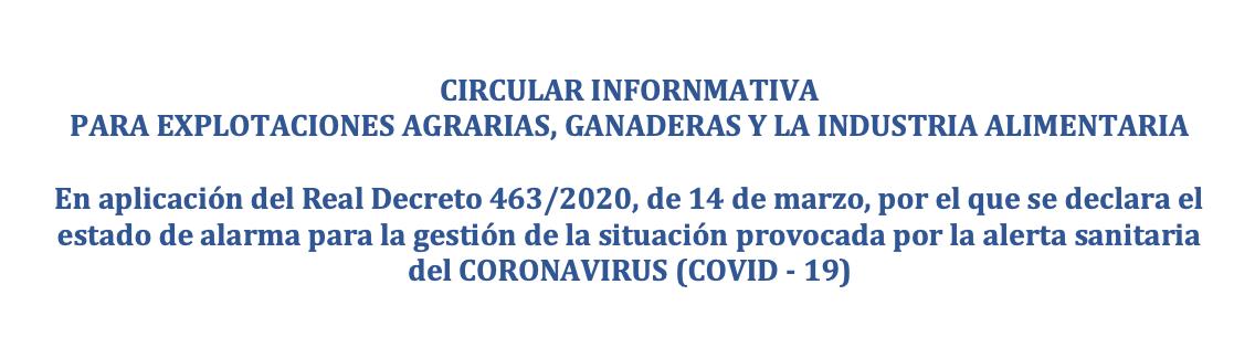LES EXPLOTACIONS AGRÀRIES I LA INDÚSTRIA ALIMENTÀRIA FRONT AL CORONAVIRUS