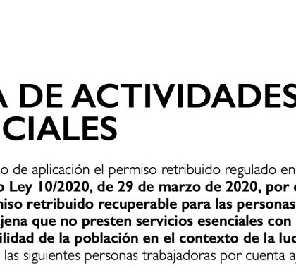 LISTA DE ACTIVITADES ESENCIALES DURANTE EL ESTADO DE ALARMA