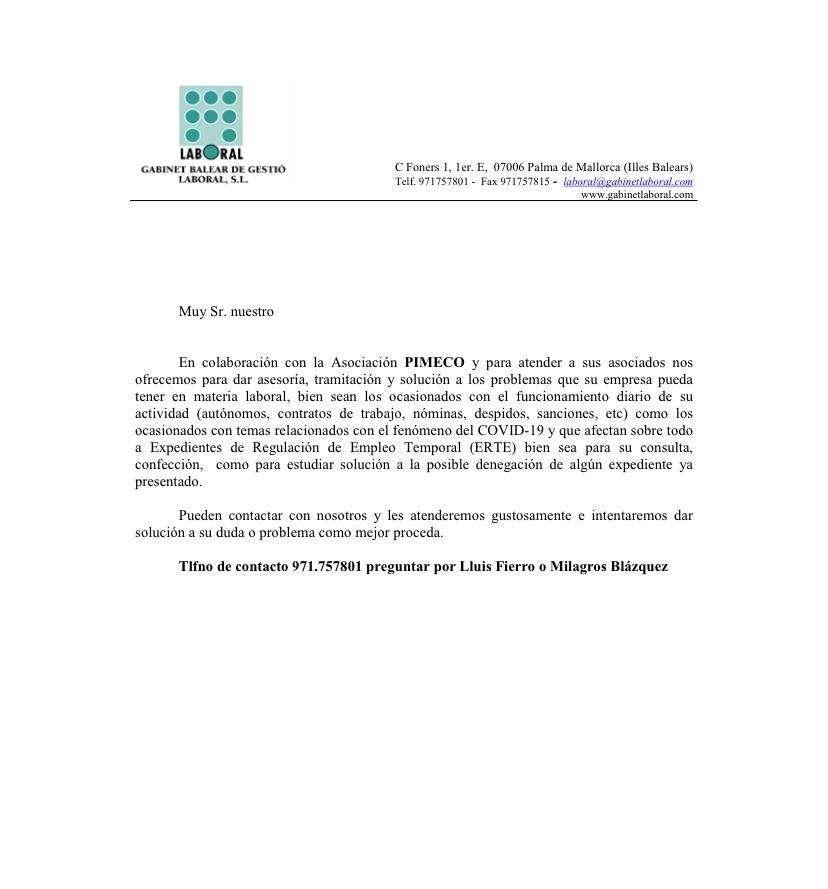 PIMECO PONE UN SERVICIO DE ASESORÍA LABORAL A DISPOSICIÓN DE SUS SOCIOS