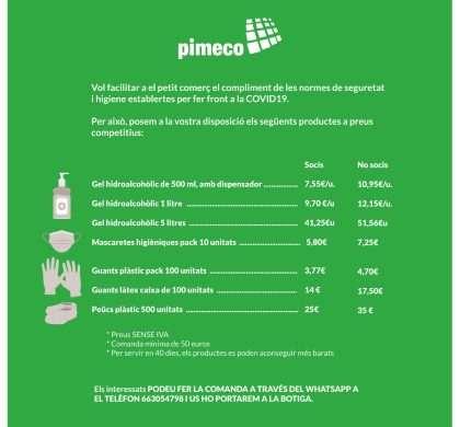 PIMECO PORTA ELS PRODUCTES DE SEGURETAT I HIGIENE DIRECTAMENTE A LA TEVA TENDA
